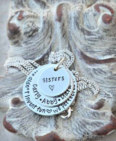 Personalized Sisters Necklace - Sisters by Heart - Sorority Sisters - Best Friend Gift - BFF Jewelry - Forever Friends - Sorority Sister - Heel Lilies  - 1