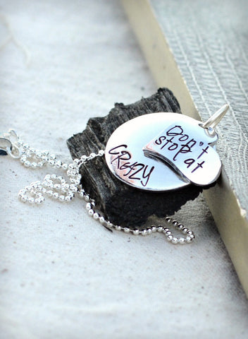 Crazy Faith - Heel Lilies - dont stop at crazy - personalized domed necklace - domed pendant necklace - cross jewelry -silver heart necklace - Heel Lilies  - 1