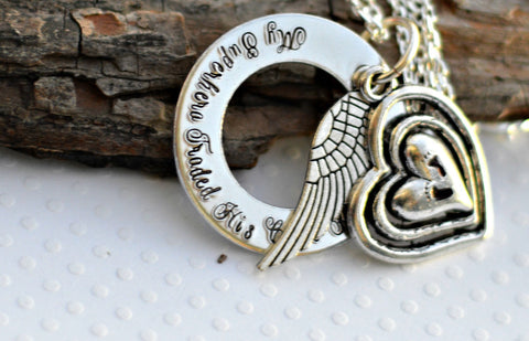 Baby Feet Infant memorial necklace angel wing silver jewelry prince jewelry personalized personalised jewellery baby jewelry estate memorial - Heel Lilies  - 1