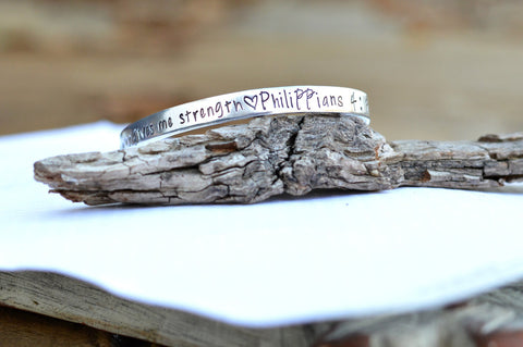 Hand Stamped Custom Christian Philippians 4 13 I can do all things through him who gives me strength - bible verse cuff bracelet - silbver - Heel Lilies  - 1