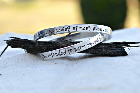 Hand Stamped Custom Christian Genesis 50:20 - prayer bracelet- one size-  Scripture Jewelry - you intended to harm me but God intended it - Heel Lilies  - 1