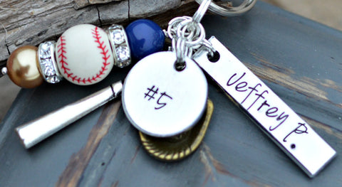 Baseball gifts - Baseball Keychain - Name on - Player - baseball charm - Softball - Heel Lilies  - 1