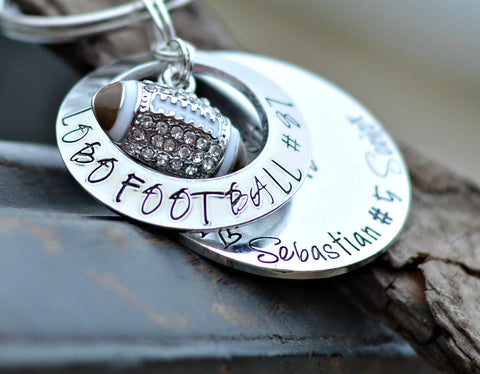 Football Gift Coach Gift football keychain personalized name on keychain teen boy gift football jersey football charm player gift ideas mom - Heel Lilies  - 1