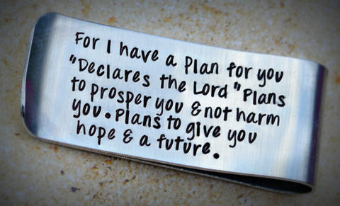 Jeremiah 29: 11 Bible Verse Gifts - Scripture Print - Engraved Money Clips - Heel Lilies