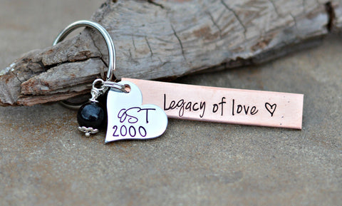 Est. Silver Heart Copper Tag personalized keychain EStablished family keychain with pearl - Heel Lilies  - 1