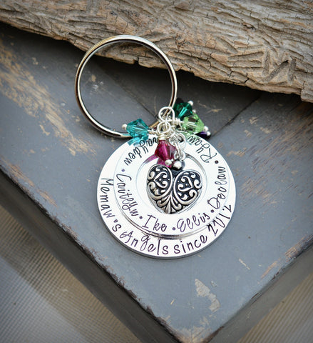 Grandmother keychain with birthstones