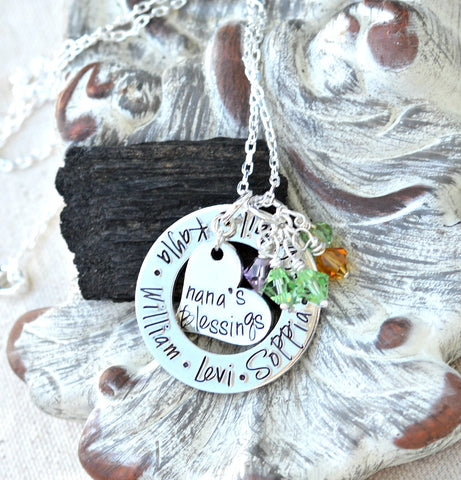Personalized Nana Necklace, gift for nana from grandchildren - kid names on washer - Heel Lilies