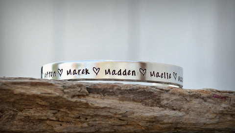 Personalized Name Bracelet Hand Stamped Silver Bracelet One Size Fits All Cuff Bangle Bracelet - Heel Lilies  - 1