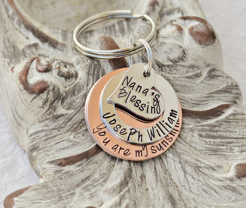 You are my sunshine layered handstamped keychain Heart for Nana's Blessings with personalized name on the middle layer - Heel Lilies