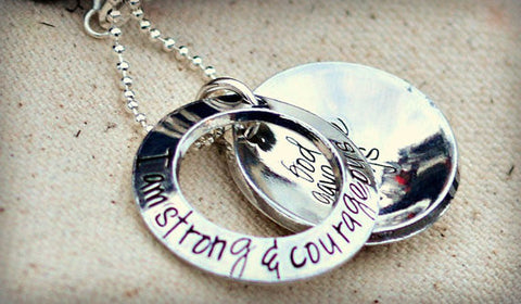 Gift for mom from son - Personalized locket - Be strong and courageous do not be afraid Joshua 1:9 - Moms necklace - Heel Lilies  - 1
