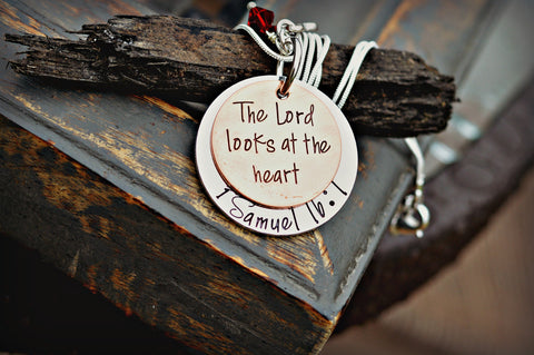 Bible Verse Jewelry - Scripture Necklace - 1 Samuel 16:7 The Lord Looks at the Heart - Heel Lilies  - 1
