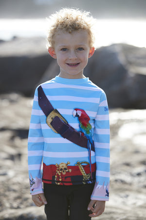 Boys Swim Rash Top - Pirate design with Long Sleeves