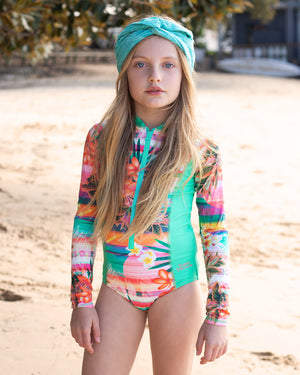 Long Sleeve Surf Tank - Sunset Print with Frangipanis