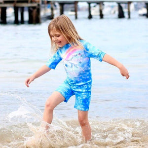 Girls Unicorn Swimsuit - Rash suit-  all in one swimsuit