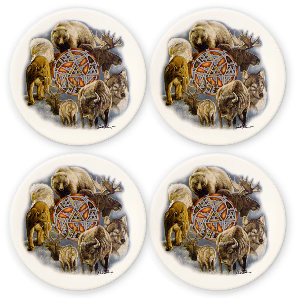 Animal Spirit Circle Coaster Set