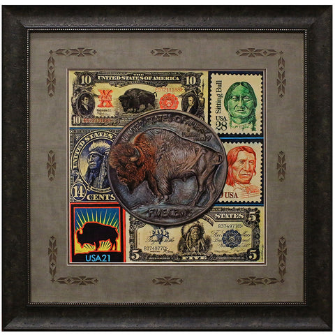 Bisontennial Matted and Framed Giclee