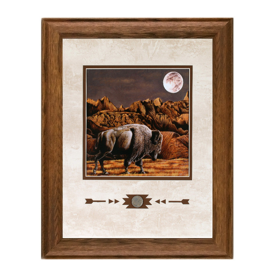 Framed Buffalo Moon Rising Showcase Print