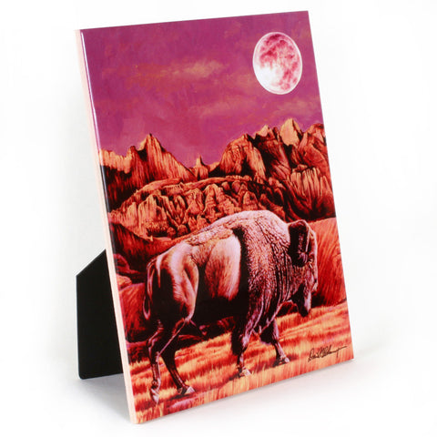 "Buffalo Moon Rising - 6""X8"" Ceramic Art Tile"