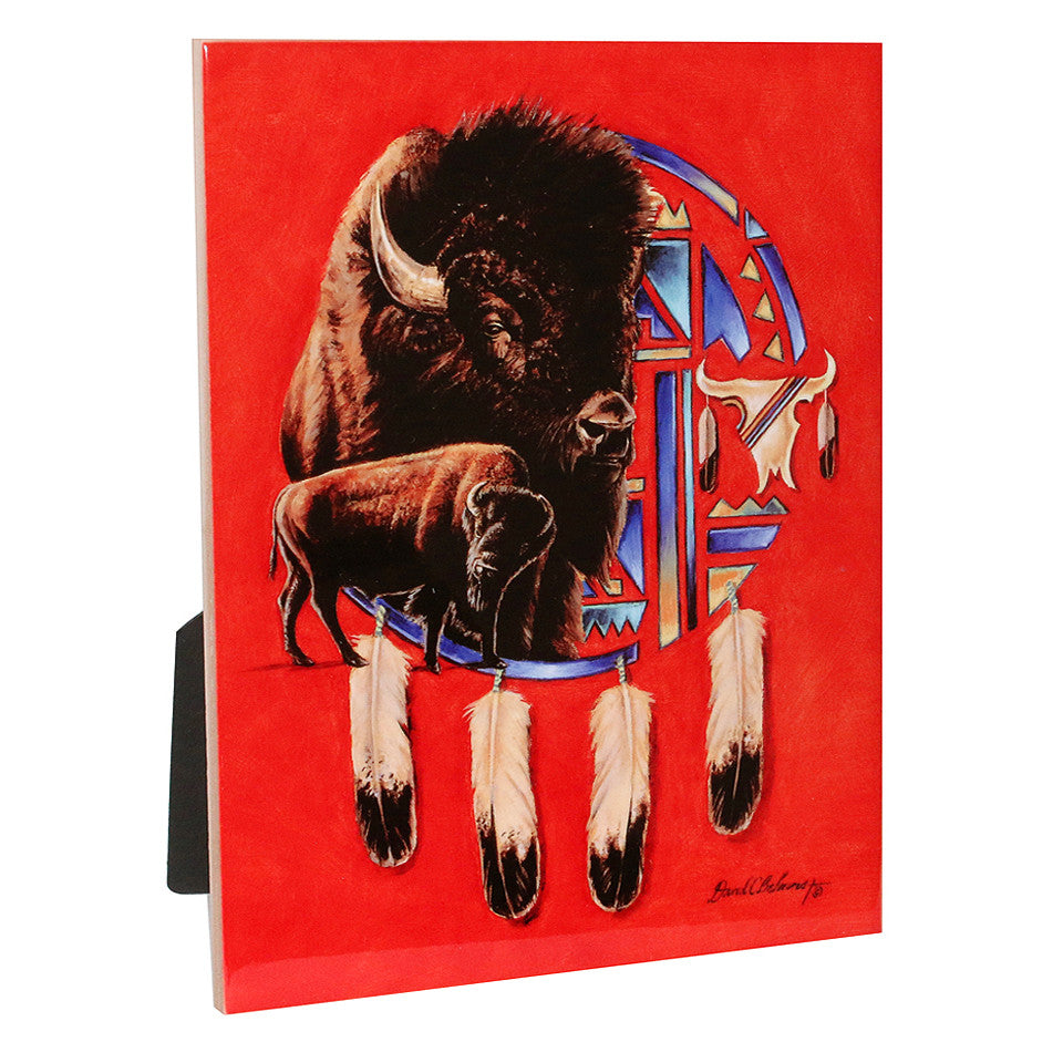 "Buffalo Shield - 6""X8"" Ceramic Art Tile"