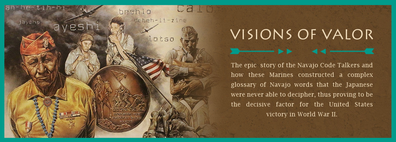 See David Behrens' tribute to the Navajo Code Talkers of WWII in his Visions of Valor artwork