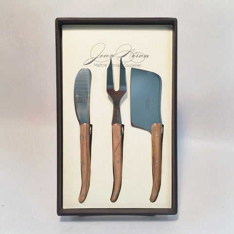 Olive Wood Cheese Knife 3 Piece Set