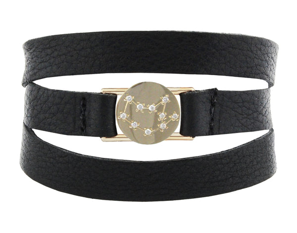 VIRGO LEATHER WRAP BRACELET