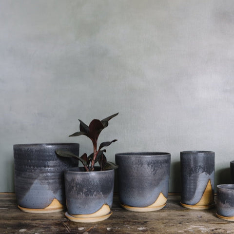 LEAF AND THREAD Stoneware Planter + Saucer | Midnight Sky