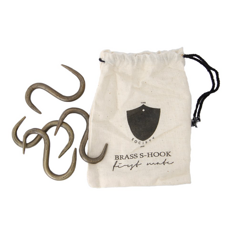 THE SOCIETY INC. First Mate S Hook Brass | 4pk