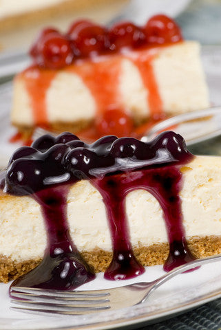 vegan tofu cheesecake with berry sauces