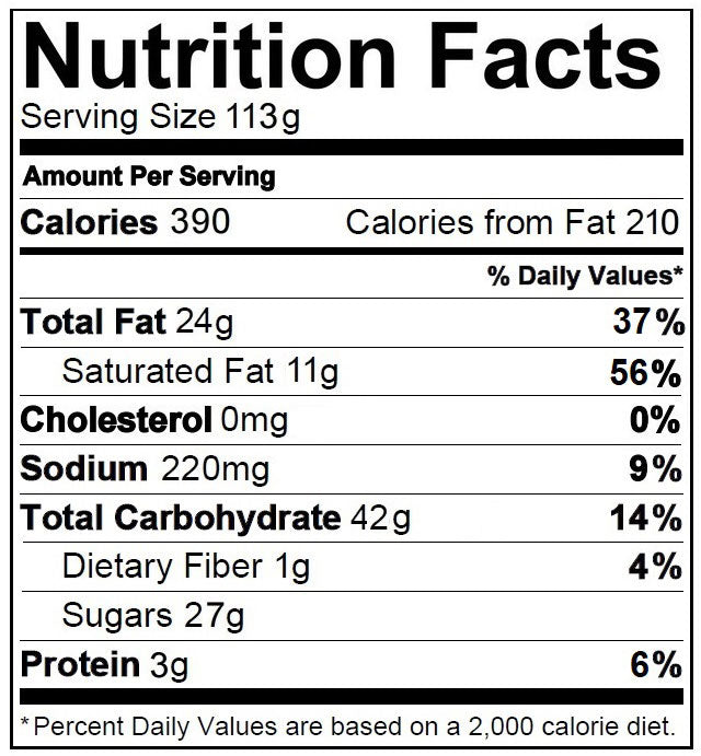 Sirabella's Nutrition Facts