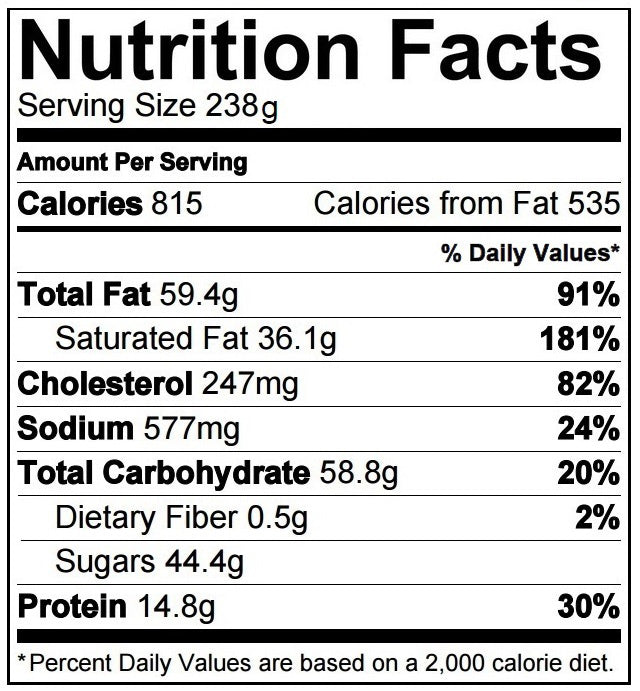 Factory Cheesecake Nutrition