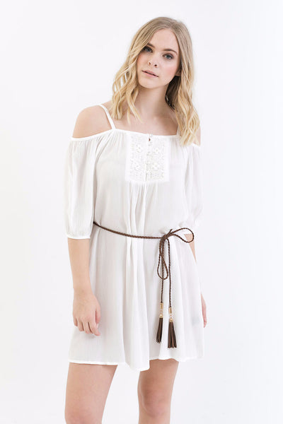Olivia Open Shoulder Dress in Ivory