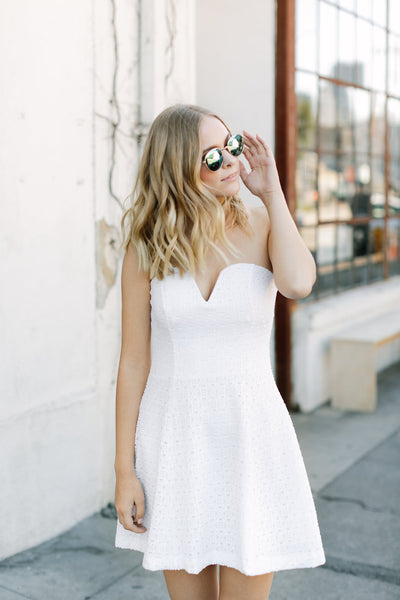 breeze by white strapless dress