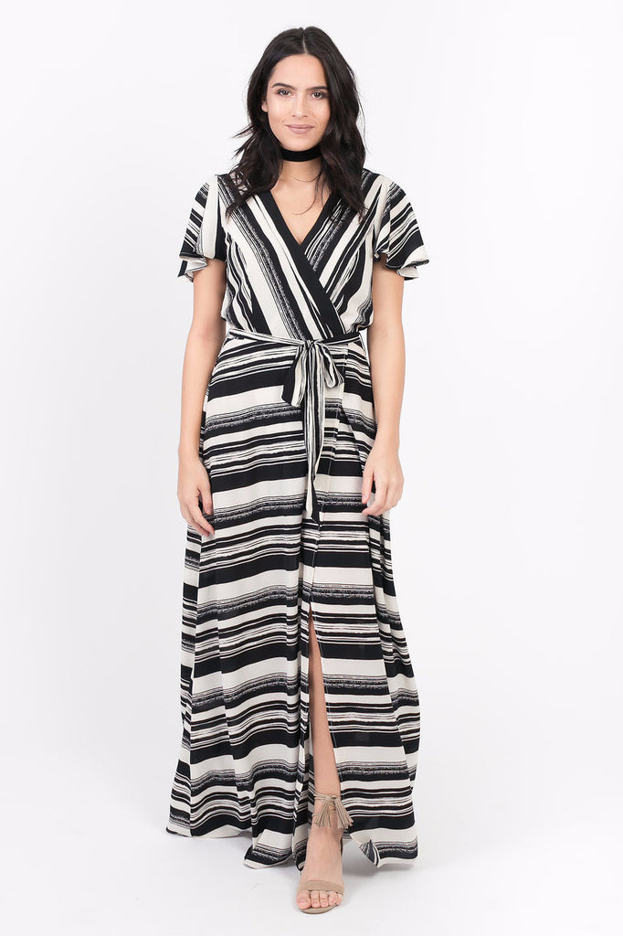 Sydney Striped Wrap Dress