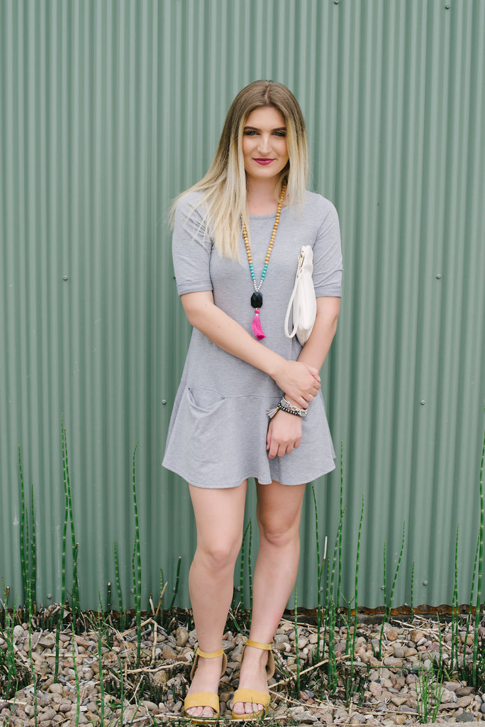 Grey two pocket tee dress