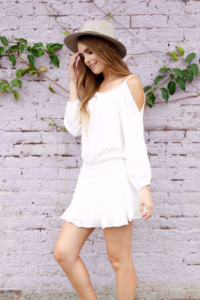 cadence cold shoulder dress in ivory