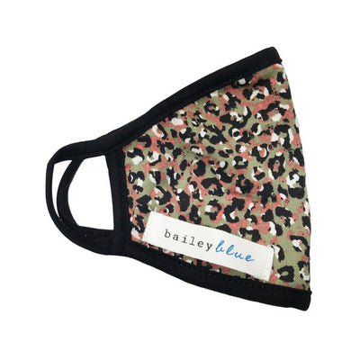 The Bailey Blue Face Covering Sale (Kids) Masks Bailey Blue Pattern - Olive Leopard
