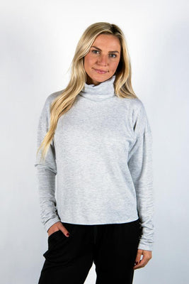 The Breakaway: Women's Long Sleeve with Removable Face Covering Sweatshirt Bailey Blue