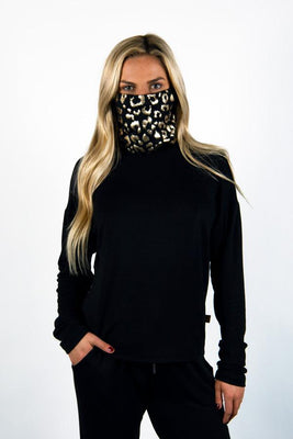 The Breakaway: Women's Long Sleeve with Removable Face Covering Sweatshirt Bailey Blue Black / Black Disco Leopard S
