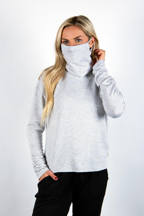 The Breakaway: Women's Long Sleeve with Removable Face Covering Sweatshirt Bailey Blue Heather Grey S