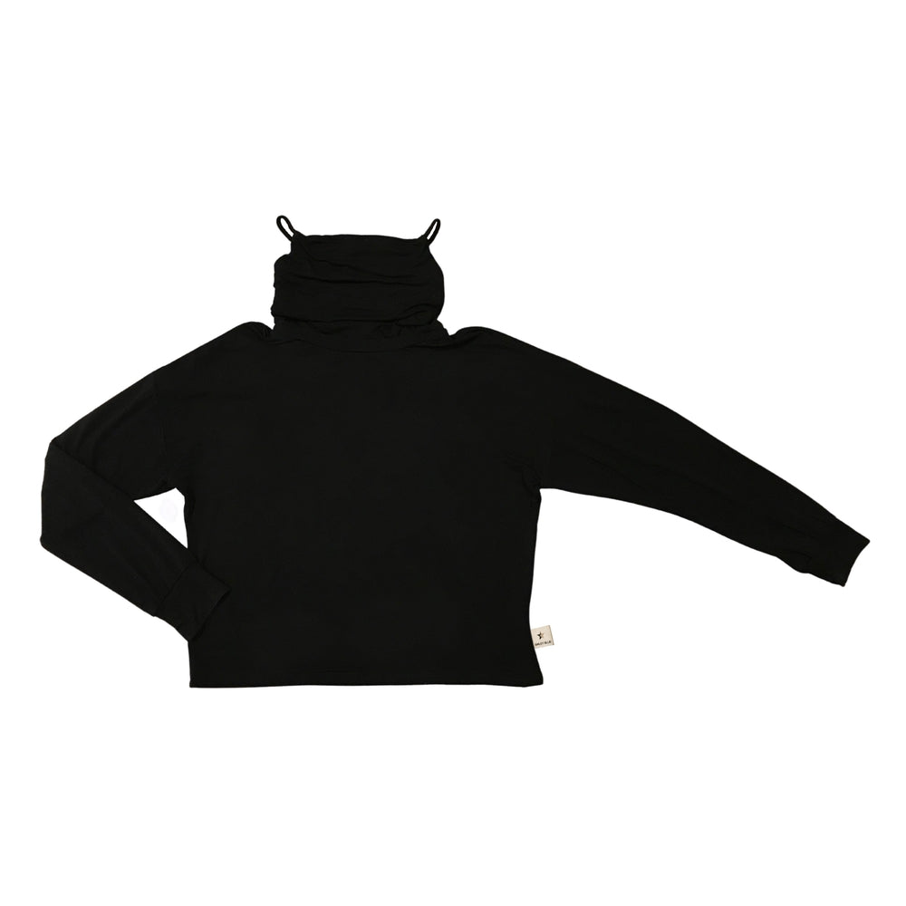 The Breakaway: Women's Sweatshirt with Removable Face Covering Sweatshirt Bailey Blue Black S