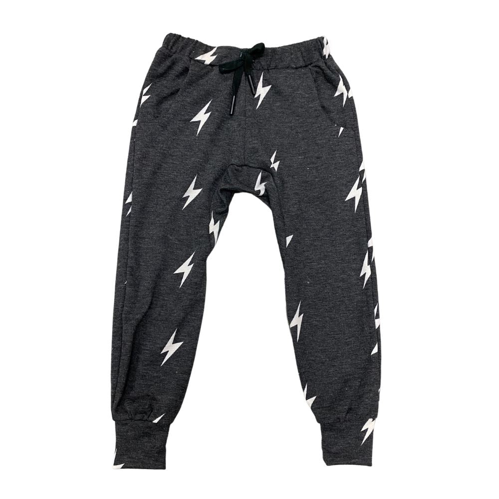 The Chase: Kids Joggers Bottoms Bailey Blue Charcoal Lightning Bolt 2|3