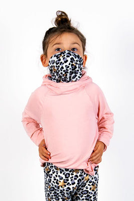The Defender: Kids Hoodie Hoodie Bailey Blue Blush/Golden Cheetah 2|3