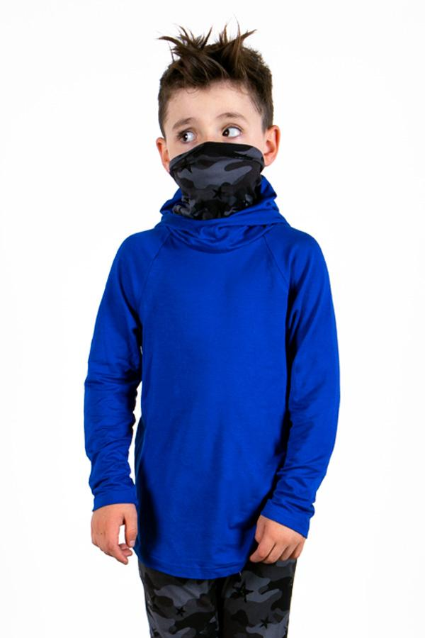 The Defender: Kids Hoodie Hoodie Bailey Blue Cobalt / Desert Star 2|3