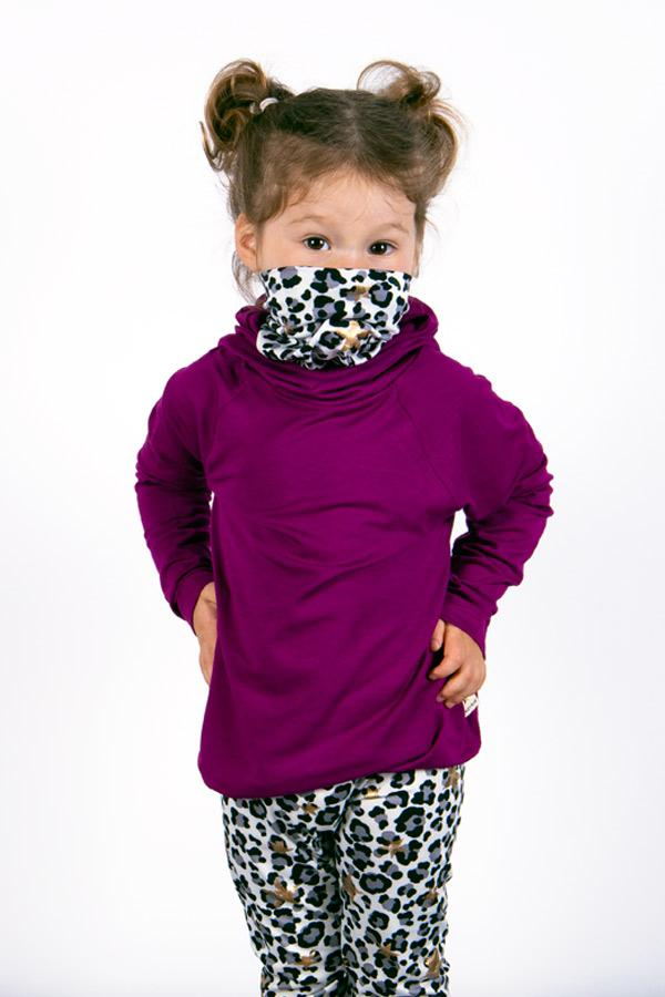 The Defender: Kids Hoodie Hoodie Bailey Blue Magenta / Golden Cheetah 2|3