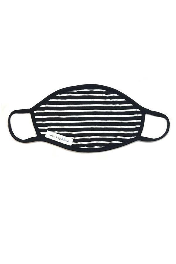 The Filtered Classic (Adults) Masks Bailey Blue Stripes - Black & White