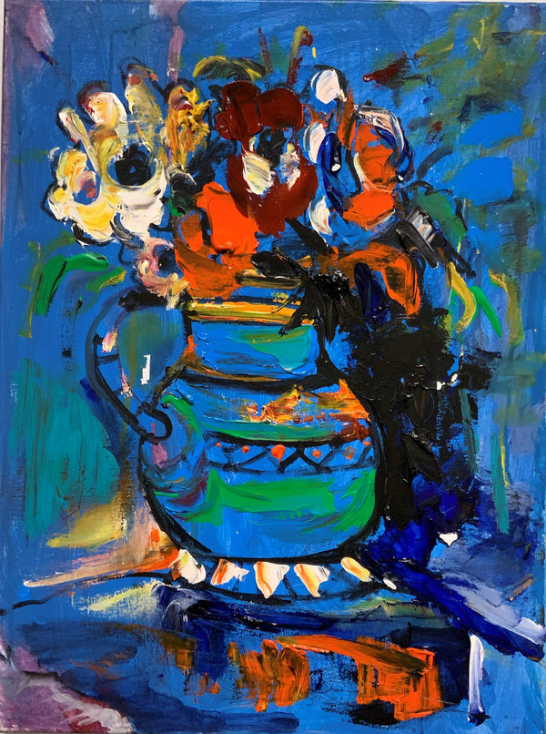 "18"" X 24"" FLOWERS IN VASE ON BLUE"