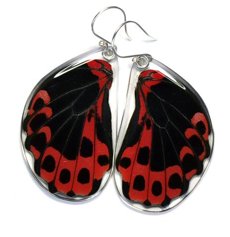 SCARLET MORMON BUTTERFLY BOTTOM WING EARRINGS