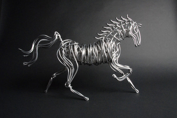LARGE ALUMINUM HORSE SCULPTURE