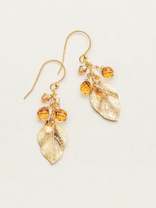GOLD PETITE CASCADING ELM EARRINGS HOLLY YASHI